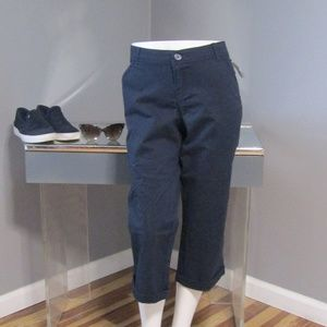 NEW Maurices Navy Blue Cuffed Capris Size 9/10